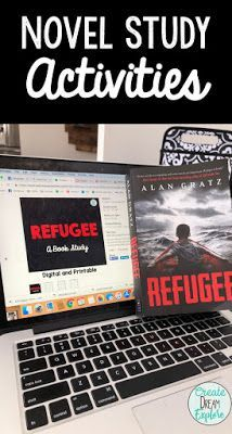 Novel Study Activities for the book Refugee by Alan Gratz including interactive lesson ideas as well as comprehension questions for Refugee Pre Reading Activities, Learning Activities, Library Activities, Reading Resources, Reading Skills, Stem Activities, Guided Reading, Star Mobile, Notes To Parents