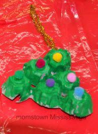 Recycled egg carton Christmas tree craft #Christmas