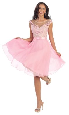 This charming dress features an illusion sweetheart neckline, cap sleeves, and a nude bodice covered with pink colored lace applique. The waist is highlighted with satin ribbon trim that leads to a graceful knee length chiffon skirt. Prom Dresses 2018, Evening Dresses, Grad Dresses, Prom Dresses Australia, Illusion, Dresser, Formal Cocktail Dress, Different Dresses, Applique Dress