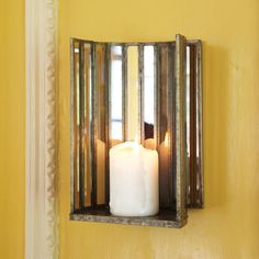 Two-Way Mirror Glass Wall Sconce / Pillar Candleholder - Two's Company | domino.com