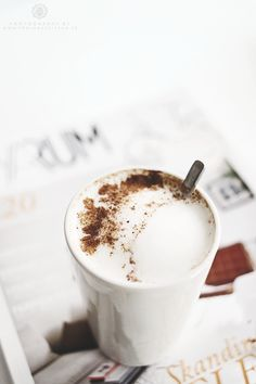 A cappuccino a day. But First Coffee, I Love Coffee, Coffee Break, My Coffee, Coffee Drinks, Morning Coffee, Coffee Shop, Coffee Cups, Cappuccino Coffee