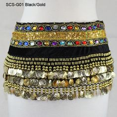 BLACK VELVET JEWELED STONES BELLY DANCE HIP SCARF HIPSCARF SKIRT WRAP 338 COINS
