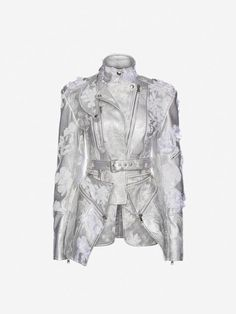 Women's Embroidered Metallic Leather Jacket | Alexander McQueen - #metallicleather - Women's Embroidered Metallic Leather Jacket | Alexander McQueen... Stage Outfits, Kpop Outfits, Cute Outfits, Kpop Fashion, Fashion Outfits, Womens Fashion, Kpop Mode, Alexander Mcqueen, Looks Style
