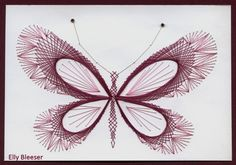 Borduren - Elly - Picasa Albums Web String Art Templates, String Art Patterns, Embroidery Cards, Embroidery Patterns, Paper Piercing Patterns, Stitching On Paper, Paper Butterflies, Art N Craft, Card Patterns