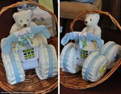 Do it yourself baby shower gift with blue and yellow accents created by a UD student.
