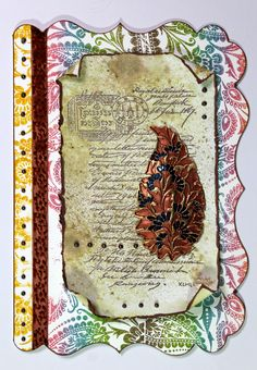 Shabby Chic Indian Style card created using stamps from Chocolate Baroque. Mixed Media Art, Mix Media, Beads Direct, Baroque Design, Shabby Chic Style, How To Make Paper, Blank Cards, Paper Flowers, Vintage World Maps
