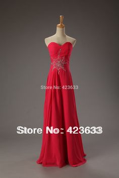 >> Click to Buy << Stocked Ruched Sweetheart Beaded Chiffon Long Lace Up Red Prom Dresses/Prom Party Dresses/Cheap Price #Affiliate