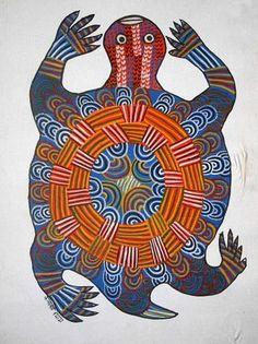 Gond Turtle Sea Turtle Art, Tribal Animals, Decoupage, Inuit Art, Madhubani Art, Turtle Painting, Indian Folk Art, Madhubani Painting, Indian Paintings