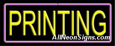 """Printing Neon Sign-10612-6128  13"""" Wide x 32"""" Tall x 3"""" Deep  110 volt U.L. 2161 transformers  Cool, Quiet, Energy Efficient  Hardware & chain are included  6' Power cord  For indoor use only  1 Year Warranty/electrical components  1 Year Warranty/standard transformers."""