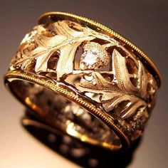 "Tom Herman: ""Scarlet Oak Band,"" 18K Yellow and White Gold, Diamonds, 11m"