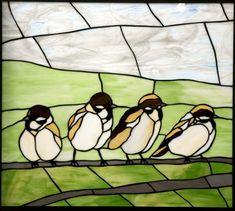 Sparrows by Ichiro Tashiro Stained Glass Birds, Stained Glass Lamps, Stained Glass Designs, Stained Glass Panels, Stained Glass Projects, Mosaic Designs, Mosaic Patterns, Mosaic Glass, Tinting Glass