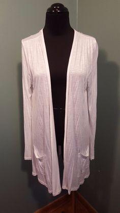 5/48 White 100% Rayon Think Knit Long Open Front Draped Cardigan Top M USA #548 #KnitOpenFrontCardigan #CasualDress #daystarfashions $16