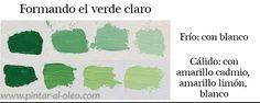 Curso de pintura: aclarar-color-verde Paint Color Chart, Paint Colors, Love Painting, Art Tips, Art Tutorials, Art Lessons, Color Mixing, Palette, Yuu