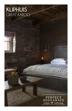 http://www.perfecthideaways.co.za/Details/Kliphuis It is on a remote nature reserve and life here in the summer is led on the stoep, around a beautiful long, stone table which keeps your eye focused on the incredible views – an endless tract of land stretching to the mountains in the far distance