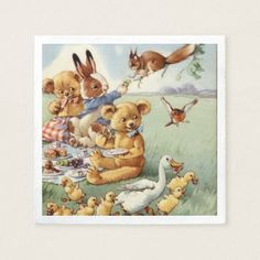 Cute Vintage animals kids party napkins - animal gift ideas animals and pets diy customize