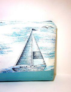 Large Zipper Pouch - Sail Away. $12.50, via Etsy.
