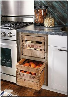 fruit crates kitchen shelves