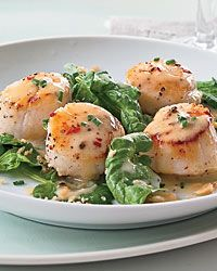 Seared Scallops with Pinot Gris Butter Sauce Recipe on Food & Wine....YUMM!