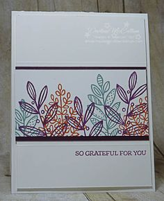 Lighthearted Leaves - www.dreamingaboutrubberstamps.com - Make a clean and simple thank you card with Stampin' Up!'s Lighthearted Leaves and the 2014-2016 in Colors including Blackberry Bliss and Lost Lagoon