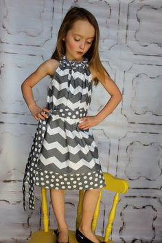 Serendipity in Chevron Grey and White and Polka by Gogreenstyle, $32.00