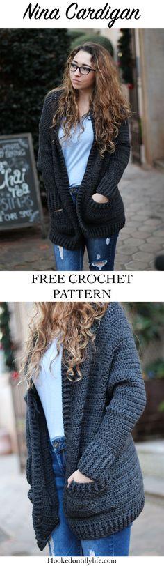 Crochet sweater pattern cardigan hooks New Ideas Bag Crochet, Crochet Cardigan Pattern, Crochet Jacket, Chunky Crochet, Crochet Shawl, Crochet Clothes, Free Crochet, Crochet Sweaters, Crochet Tops