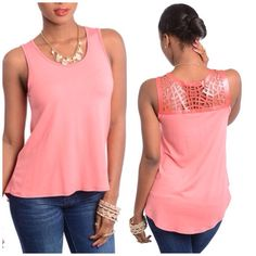 Coral Top Coral sleeveless knit top. Soft & lightweight fabric with metallic caged back accent. 95% Rayon 5% Spandex. A14 Tops