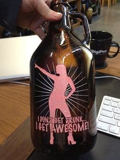"Beer Growler 64oz Sand Etched and Hand Painted Glittery Pink Awesomeness | eBay   ""For that special girl....or guy..we won't judge"""