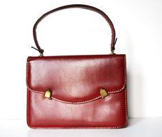 vintage 50s red leather handbag @ pamelapopo. take that fred sanford!