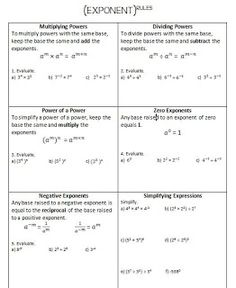 ins'Pi're math: Exponent Rules Review and Practice