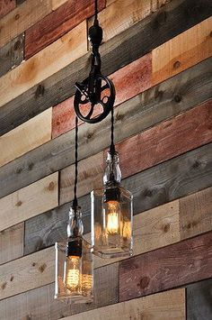 A cool pulley pendant lamp with two whiskey bottles and vintage filament lightbulbs. Great for the bar or home decor. lighting kitchen chandeliers The Warehouser - Rustic Farmhouse Pendant Chandelier Pulley Lamp - Industrial Lighting - Factory Lighting Farmhouse Lighting, Rustic Lighting, Industrial Lighting, Lighting Ideas, Rustic Farmhouse, Kitchen Lighting, Lighting Design, Track Lighting, Bathroom Lighting