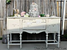Vintage Antique Sideboard Server Buffet. Wedding Cake display