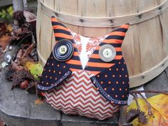 Creepy cute owl halloween owl doll striped by blackwoodcottage