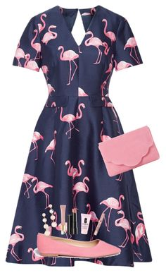 """Flamingo Dress"" by makingithappen ❤ liked on Polyvore featuring Draper James, Sam Edelman, Rebecca Minkoff, Dune, AERIN, Arbonne, Clinique and L'Oréal Paris"
