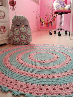 # amigurumi # weave - Crochet for Home Crochet Mat, Crochet Rug Patterns, Crochet Carpet, Crochet Mandala, Love Crochet, Crochet Designs, Crochet Doilies, Knit Rug, Crochet Home Decor