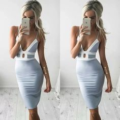 Periwinkle Mini Dress Periwinkle colored evening Bodycon dress with a white stripe pattern around the top for an elegant look and a slight slit in the leg. BRAND NEW, FAST SHIPPING! Price firm unless bundled. Boutique Dresses Mini