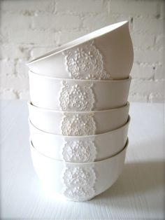 Porcelain Lace Bowls from Etsy - So lovely! I would want black bowls but white or Mother of pearl lace! Cooler Stil, White Dishes, Shades Of White, Home Accessories, Sweet Home, Shabby Chic, Pure Products, Beautiful, Kitchens