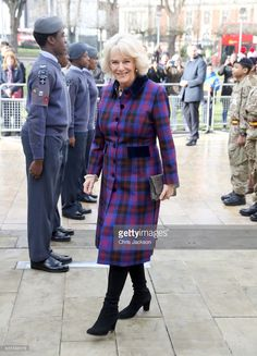 Camilla, Duchess of Cornwall arrives with Prince Charles, Prince of Wales during their visit to the Black Cultural Archives in Brixton on February 16, 2017 in London, England. Their Royal Highnesses will view the collection at the B.C.A. with a focus on African and Caribbean contribution to war efforts during World War I and II.