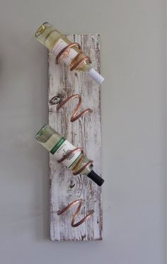 White Washed Wine Rack Wood Housewarming gift mother of White Wine Rack, Copper Wine Rack, Rustic Wine Racks, Wine Bottle Wall, Wine Rack Wall, Bottle Rack, Reclaimed Wood Projects, Old Farm Houses, Rustic White