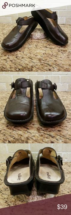 """Alegria PG Lite Dark Brown Clog, Sz 40 Alegria Classic Dark Brown Clog, PG Lite, Sz 40, enamel buckle, slip resistant sole, removeable and replaceable insoles, heel height 1-1/2"""",  gently used from a smoke free home. Alegria Shoes Mules & Clogs"""