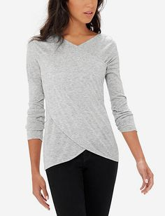 I like the style - would like some color. Marled Asymmetrical Front Top