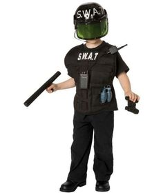 t Officer Child Costume Kit - He will take care of the crime!T Officer Child Costume Kit - Child Costume includes helmet with S.T across the top, and black cargo vest, binoculars, Swat Costume, Boy Costumes, Costume Ideas, Last Minute Halloween Costumes, Halloween Party, Halloween Ideas, Halloween 2016, Swat Police, Mardi Gras