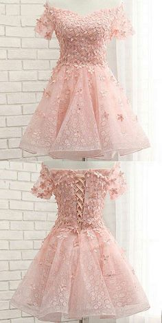 Pink Homecoming Dress with Flower,Short Sleeve Homecoming Dress,Short Prom