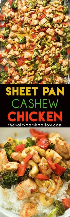 Sheet pan cashew chicken! An easy one pan, 30 minute dinner, for a takeout favorite made at home!