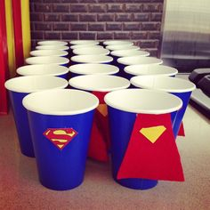 Superman party cups- just logo Superman Birthday Party, Superhero Theme Party, Batman Party, 3rd Birthday Parties, Boy Birthday, Birthday Ideas, Party Decoration, Party Cups, Baby Party