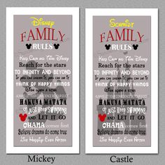 Excited to share the latest addition to my #etsy shop: Yelllow/RED/Grey Disney Family Rules print 10x20 #homedecor #housewares #disney #wallquotes #familyrules