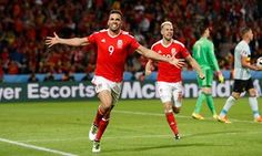 Hal Robson-Kanu celebrates after scoring Wales' second goal against Belgium in the Euro 2016 quarter-final in Lille. Photograph: Carl Recine/Reuters 3 -1 Wales