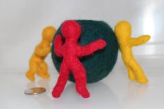 3 Felt Guys Pushing a Big Felt Bowl by thefeltexperience on Etsy, $50.00