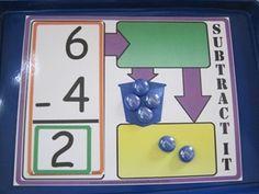 Math: Subtraction Mat: I am going to do this next year. Math Classroom, Kindergarten Math, 1st Grade Math, Teaching Math, Second Grade, Math Games, Math Activities, Math Subtraction, Subtraction Activities