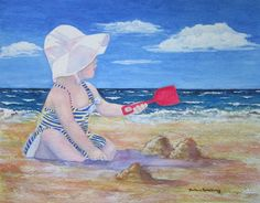 Beach Girl with White Hat and Red Shovel, Child Ocean Seashore Art Print of Original Watercolor by Barbara Rosenzweig
