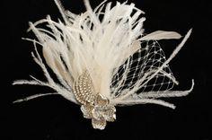 Bridal Fascinator, Wedding Head Piece, Feather Fascinator - JASALYN